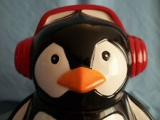 """PEGUIN COOKIE JAR WITH RED EAR MUFFS. MARKED """" FRESH DECOR""""  UNIQUE. AND CUTE!"""