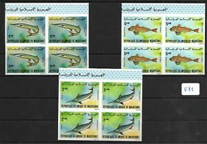 SMT, MAURITANIA,1979, a very rare fishes set, IMPERF, LUXURY , block of 4, MNH