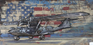 Hand Made Solid Wood and Metal 3D B-54 American Plane Painting Trophy Art Decor