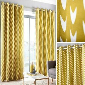 Ochre Eyelet Curtains Geometric Ready Made Cotton Lined Ring Top Curtain Pairs