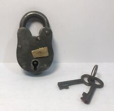 Pad Lock & 2 Keys Cast Iron Skeleton Reproduction Antique Jailer Medieval #556