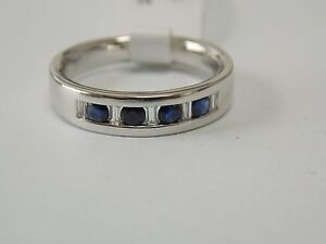 Sapphire & Baguette Diamonds Wedding or Anniversary Band on 14K White gold