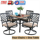 Patio Swivel Chairs Furniture Sets 5 Piece Outdoor Garden Dining Square Table