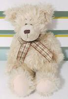 Russ Berrie Cream Bear Teddy Bear Plush Toy w/ Brown Plaid Bow 23cm Tall!