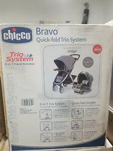 Chicco Bravo Trio Travel System 3-in-1 Car Seat Stroller Grey/Black, Indigo