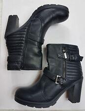 Guess Women's Boots Ankle Black Sz 11M Block Heel Zipper Closure