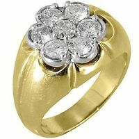 MENS 1.5 CARAT DIAMOND CLUSTER RING BRILLIANT ROUND CUT 7 STONE 14KT YELLOW GOLD