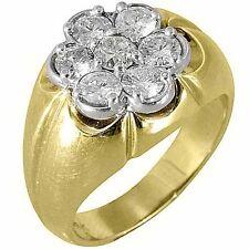 MENS 1.5 CARAT DIAMOND CLUSTER RING BRILLIANT ROUND CUT 7 STONE 14KT YELLOW GOLD