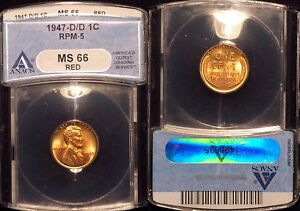 1947-D  Lincoln Cent - RPM-005  #5 ANACS MS66 red