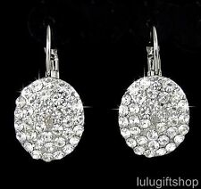 WHITE GOLD PLATED HOOP DANGLE ROUND OVAL PARTY EARRINGS USE SWAROVSKI CRYSTALS