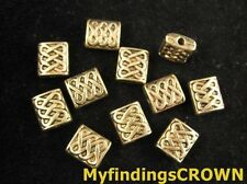 50 pcs Antiqued gold knot square spacer beads FC255