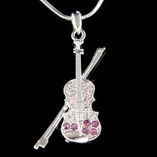 w Swarovski Crystal ~Purple Fiddle VIOLIN Bow Music Musical Pendant Necklace New