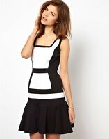 New Karen Millen colour block Black White Cotton Party Dress UK Size 10 12 38 40