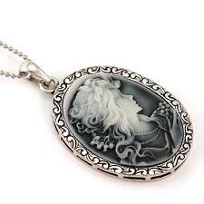 Vintage Antique Style Grey Raise Cameo Necklace Pendant