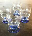 Lot de 4 verres art déco à pied bleu - hauteur 7 cm
