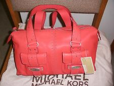 NWT Michael Kors Palm Beach Leather Large Satchel Poppy Red Retail $358