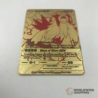 Carte Pokemon Metal Gold Entei / GX Full Art Card Fan Made / EX Custom