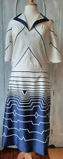 VINTAGE NAUTICAL STYLE DRESS NAVY & WHITE HANDMADE APPROX SIZE 12