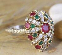 925 Sterling Silver Handmade Gemstone Turkish Ruby Ladies Ring 6-9