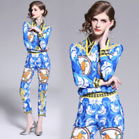 2019 Spring Summer Fall Women Set Floral Print Top Shirt Blouse Pant Suit Outfit