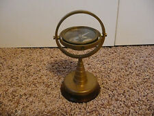 Vintage Ship Floating Compass Brass Compass with Wood Base