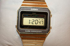 Casio Gold Tone Stainless Steel Digital Alarm Chrono Watch Vintage NEW BATTERY