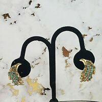 """Vintage Gold Tone Leaf Clip On Earrings Teal Cabuchon Plastic & Clear Stones 1"""""""