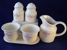 Vintage Pfaltzgraff Trousseau 6 pc Lot Herb Pots & Tray Salt Pepper Creamer USA