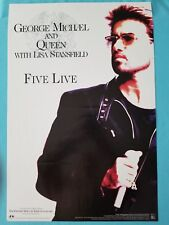"""GEORGE MICHAEL - QUEEN - LISA STANSFIELD   """"FIVE LIVE""""   PROMO POSTER    1993"""