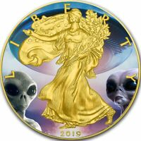 USA AREA-51 UFO ALIEN American Silver Eagle 2019 Walking Liberty Dollar $1 Coin