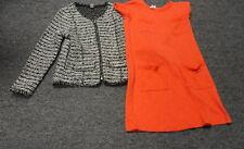 ZARA KIDS/CREWCUTS Lot Of 2 Orange Black White Dress And Sweater Sz 9/10 FF2845