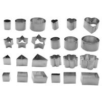 24pcs/set Stainless Steel Cookie Cutter Fondant Cake Biscuit Mold Slicer TN2F