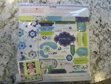 Best Occasions Page Kit Blue Jean Floral  20 sheets, borders, stickers, buttons