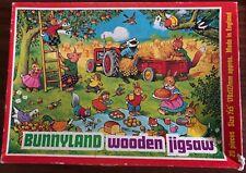 Vintage BUNNYLAND 20 Piece Childrens Wooden JIGSAW PUZZLE
