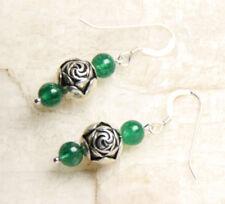 Aventurine Green 6mm Ball Gemstone & Rose Earrings .925 Sterling Silver Hooks