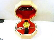 1974 GENTS 9K GOLD BULOVA LONGCHAMP MINT ORIGINAL CONDITION WITH BOX,STRAP,BUCKL