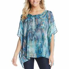 MSRP $119 Karen Kane Womens Paisley Dolman Blouse Blue Size LARGE