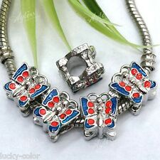 Blue Red Enamel Butterfly 5mm Big Hole European Charm Loose Beads 5p For Chain