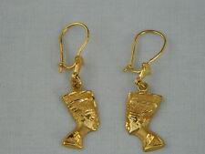 "Egyptian Queen Nefertiti Lotus 18K Yellow Gold Earrings 1.5""  #14"