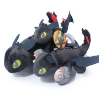 "10"" How to Train Your Dragon Plush Toothless Night Fury Soft Toy Doll Teddy Gift"