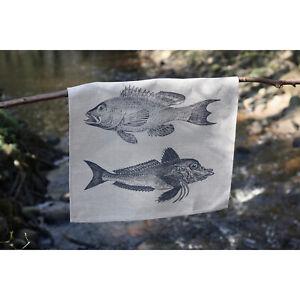 Geschirrtuch Fisch Trio Handsiebdruck, Leinen, hochwertig exquisit Frohstoff