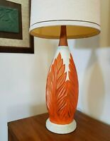 Vtg Mid Century Modern Ceramic Table Lamp w/ Orange Fern Pattern * 33""