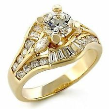 18K GOLD EP 3.1CT DIAMOND SIMULATED ENGAGEMENT RING size 6 or M
