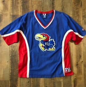 VTG 90s Champion Kansas Jayhawks Shooting Shirt Warm Up Jersey Basketball XL