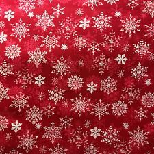 White Snowflakes Bright Red Merry Christmas Print 100% Cotton Fabric