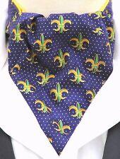 Mens Purple & Gold Fleur De Lys Design Ascot Cravat & Handkerchief - Made in UK