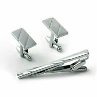 Men Metal Necktie Tie Bar Clasp Clip Cufflinks Set Supply Silver Gift Simpl G3K6