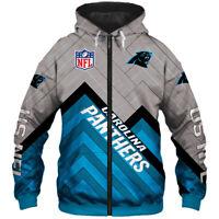 Carolina Panthers Mens Hoodie Full Zip Hooded Sweatshirt Casual Jacket Coat gift