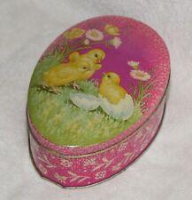Vtg Easter Egg Shape Tin Chicks Mansfield, England