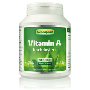 Greenfood Vitamin A, 10000 iE, extra hochdosiert, 180 Kapseln – vegan